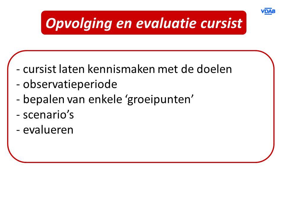 Opvolging en evaluatie cursist