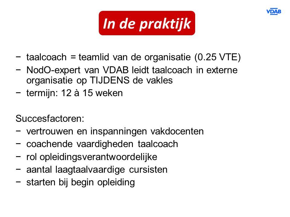 In de praktijk taalcoach = teamlid van de organisatie (0.25 VTE)