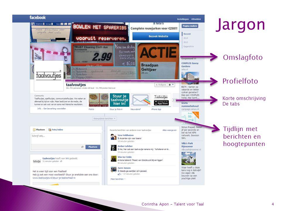 Jargon Omslagfoto Profielfoto Tijdlijn met berichten en hoogtepunten
