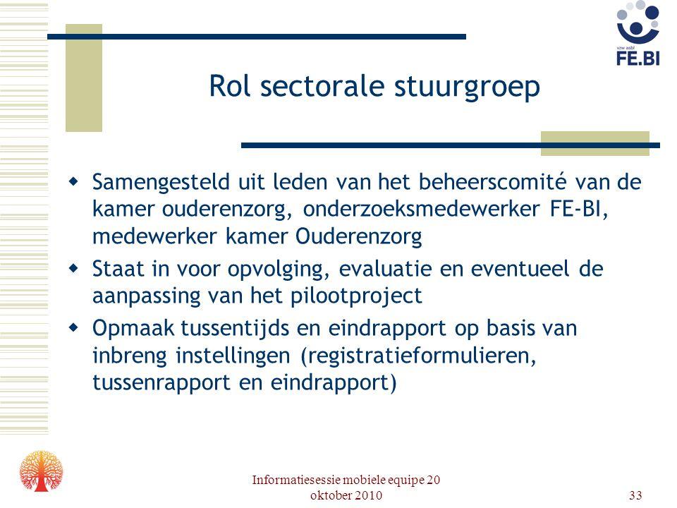 Rol sectorale stuurgroep