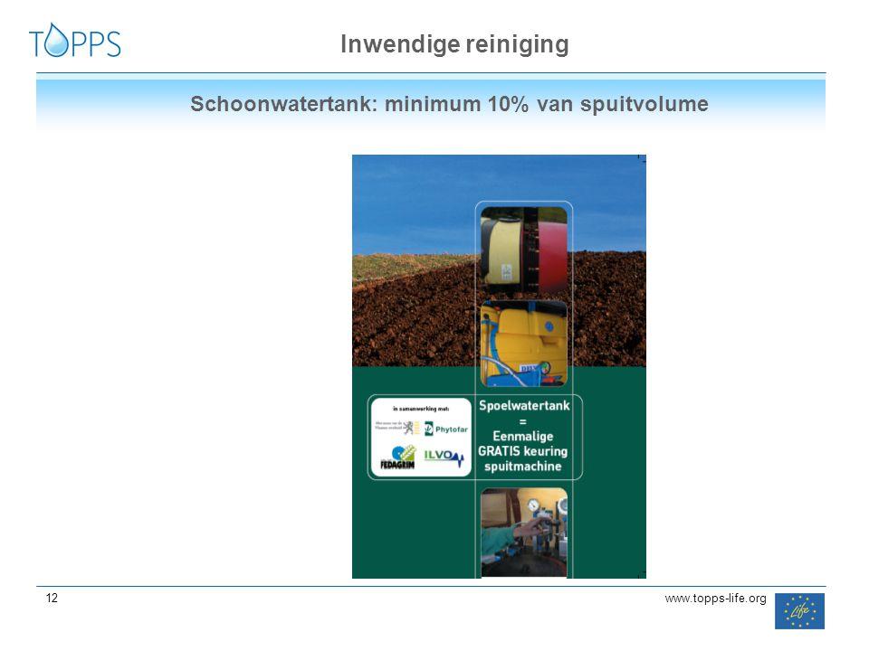 Inwendige reiniging Schoonwatertank: minimum 10% van spuitvolume