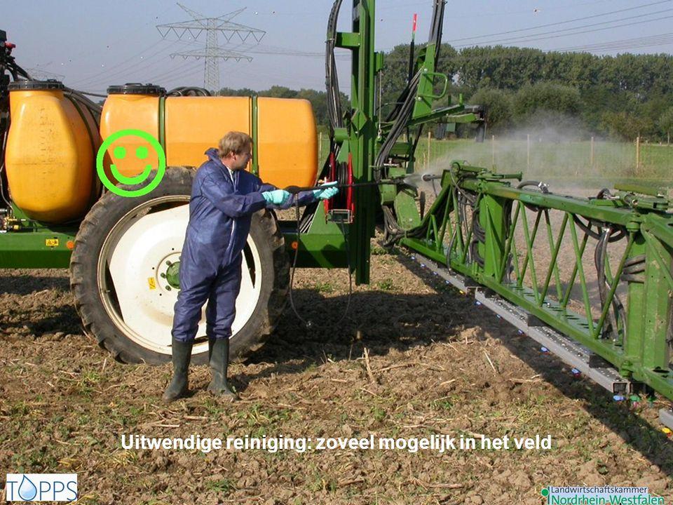 Uitwendige reiniging: zoveel mogelijk in het veld