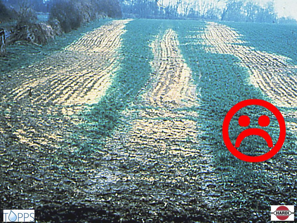 After Glyphosate has been left in the hoses. Bad rinsing can have negative effect on your crop even if you can not see it immediately.