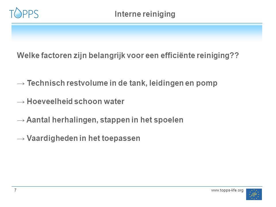 Interne reiniging Welke factoren zijn belangrijk voor een efficiënte reiniging Technisch restvolume in de tank, leidingen en pomp.