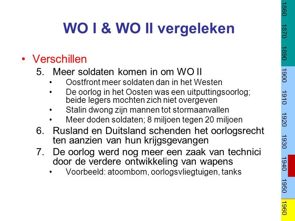 WO I & WO II vergeleken Verschillen Meer soldaten komen in om WO II