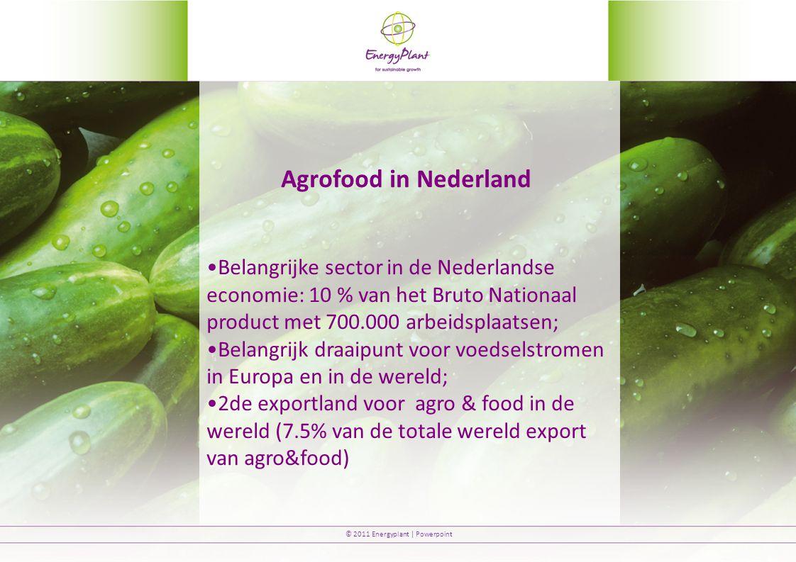 Agrofood in Nederland Belangrijke sector in de Nederlandse economie: 10 % van het Bruto Nationaal product met 700.000 arbeidsplaatsen;