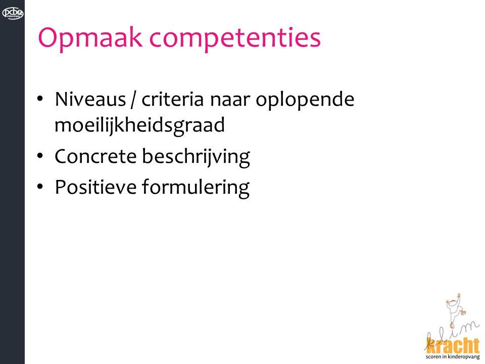 Opmaak competenties Niveaus / criteria naar oplopende moeilijkheidsgraad.