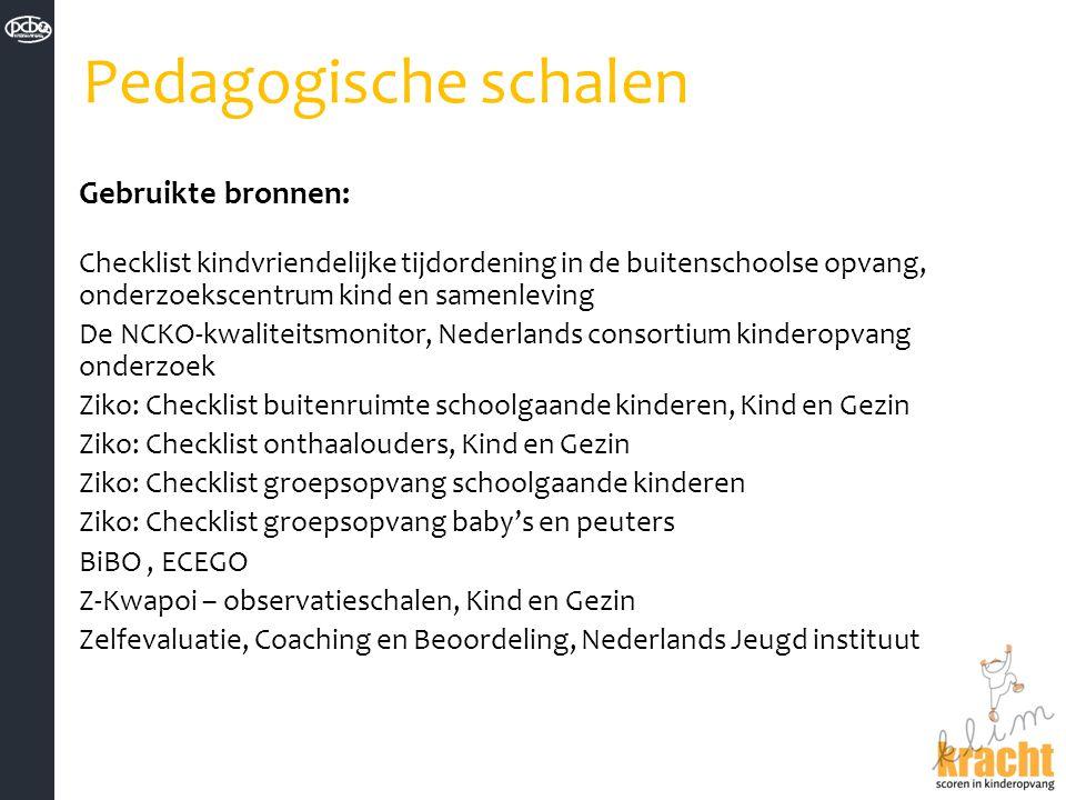 Pedagogische schalen Gebruikte bronnen:
