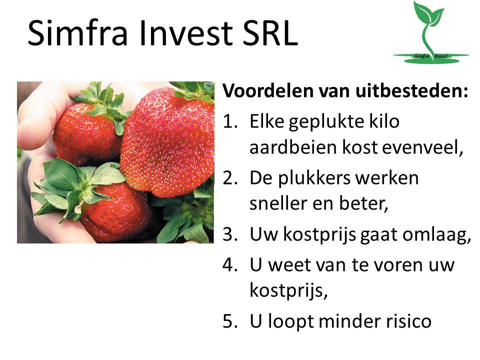 Simfra Invest SRL Voordelen van uitbesteden: