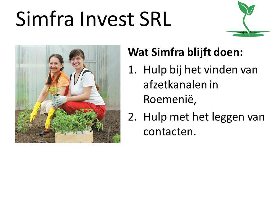 Simfra Invest SRL Wat Simfra blijft doen: