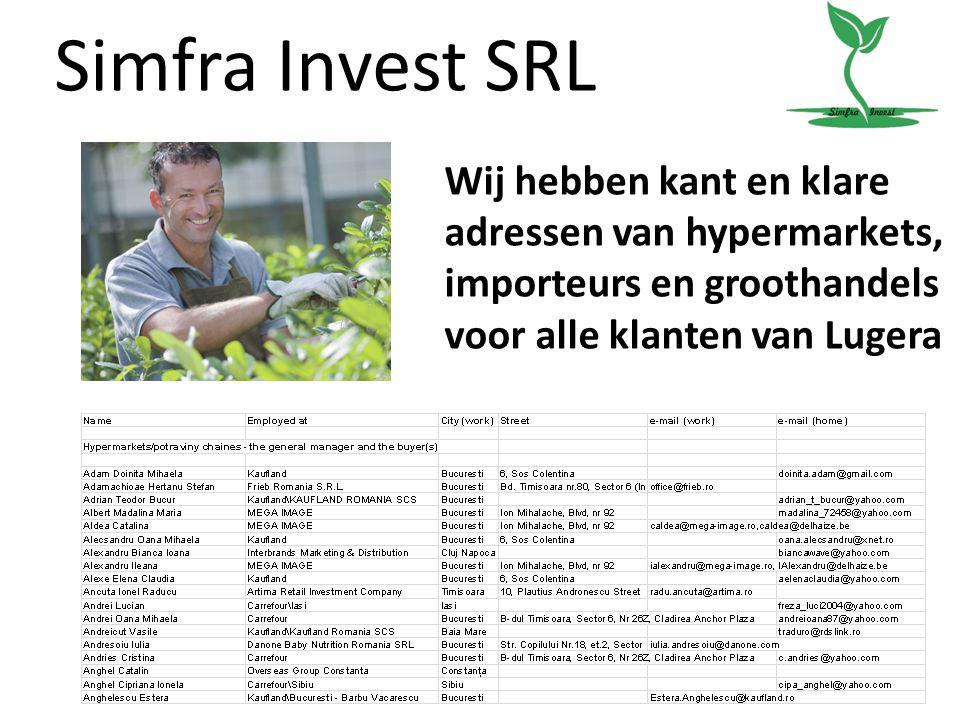 Simfra Invest SRL Wij hebben kant en klare adressen van hypermarkets, importeurs en groothandels voor alle klanten van Lugera.