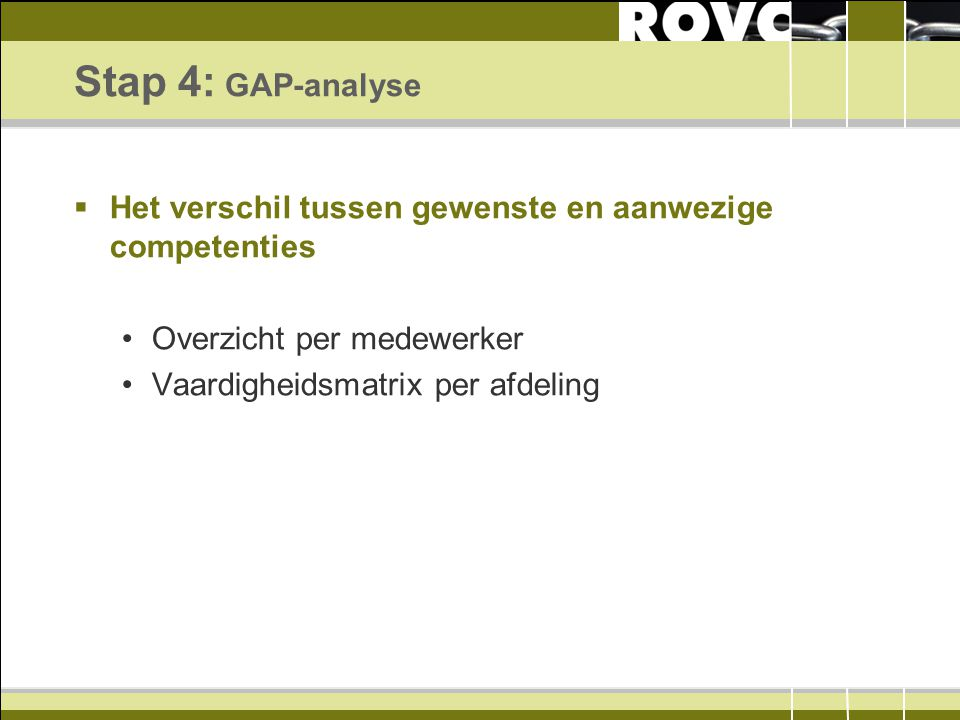 Stap 4: GAP-analyse Het verschil tussen gewenste en aanwezige competenties. Overzicht per medewerker.