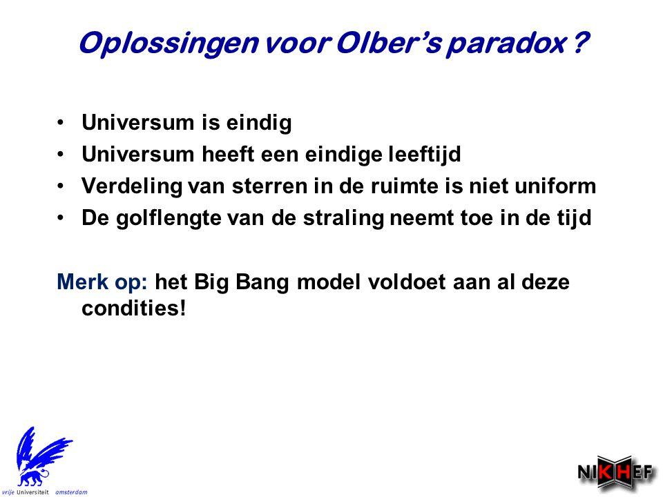 Oplossingen voor Olber's paradox