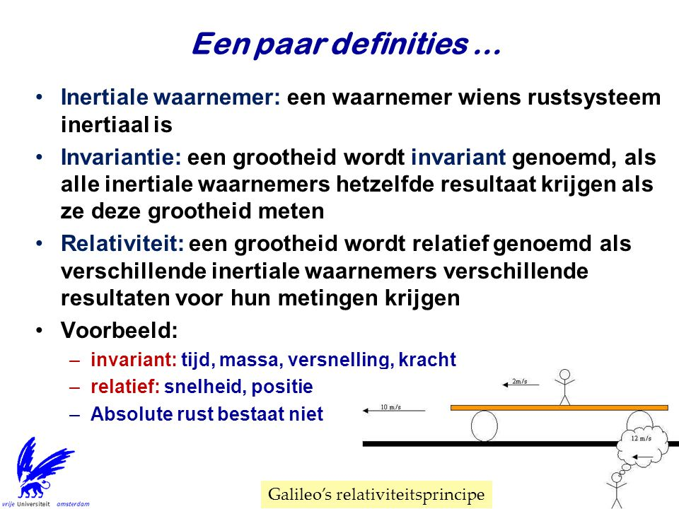 Een paar definities ... Inertiale waarnemer: een waarnemer wiens rustsysteem inertiaal is.