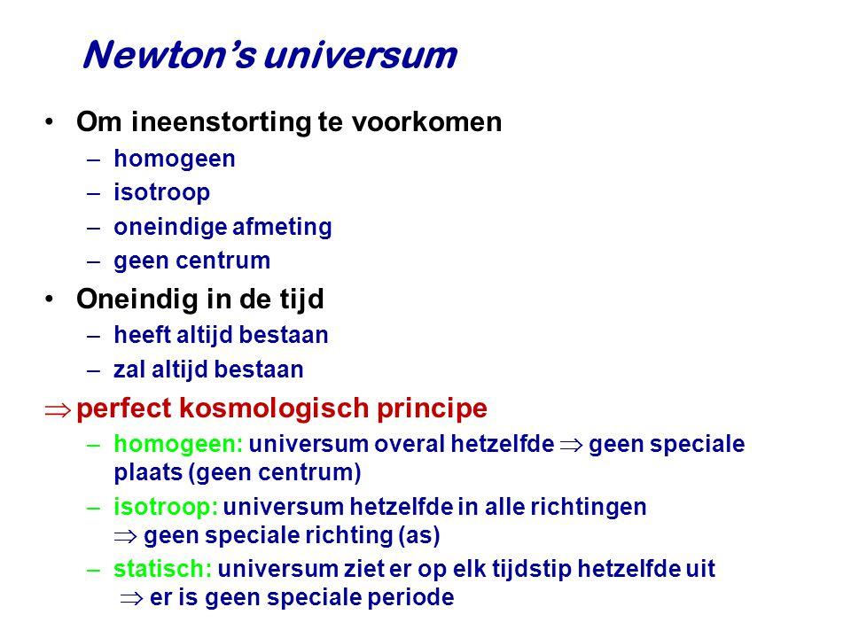 Newton's universum Om ineenstorting te voorkomen Oneindig in de tijd