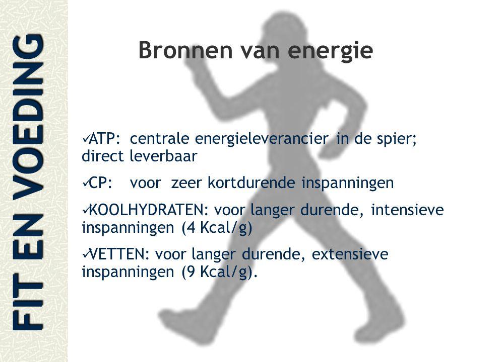 Bronnen van energie ATP: centrale energieleverancier in de spier; direct leverbaar. CP: voor zeer kortdurende inspanningen.