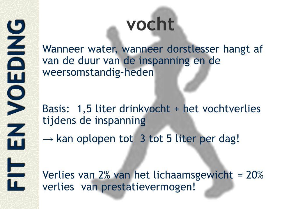 vocht Wanneer water, wanneer dorstlesser hangt af van de duur van de inspanning en de weersomstandig-heden.