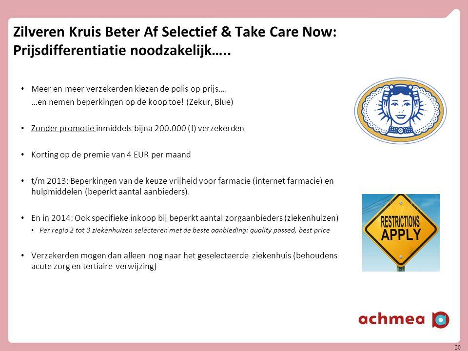 Zilveren Kruis Beter Af Selectief & Take Care Now: Prijsdifferentiatie noodzakelijk…..