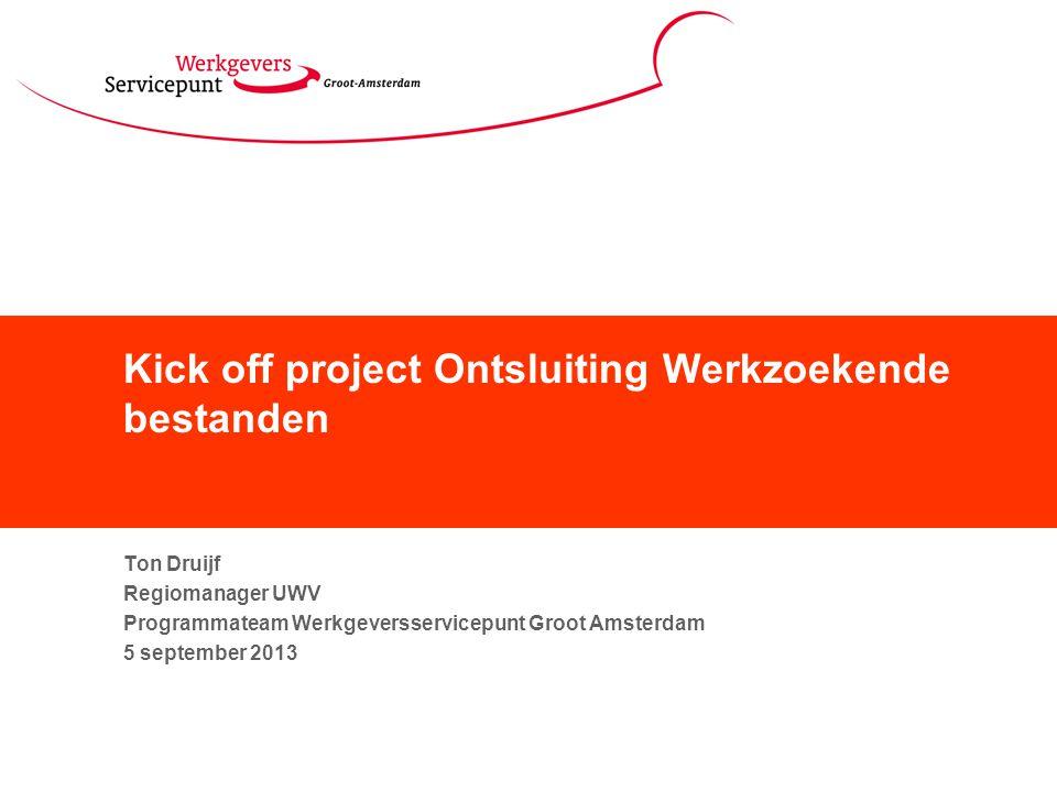 Kick off project Ontsluiting Werkzoekende bestanden