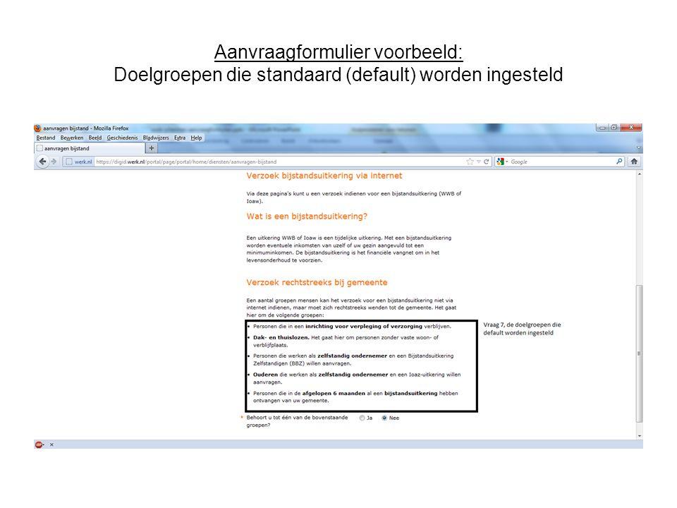 Aanvraagformulier voorbeeld: Doelgroepen die standaard (default) worden ingesteld