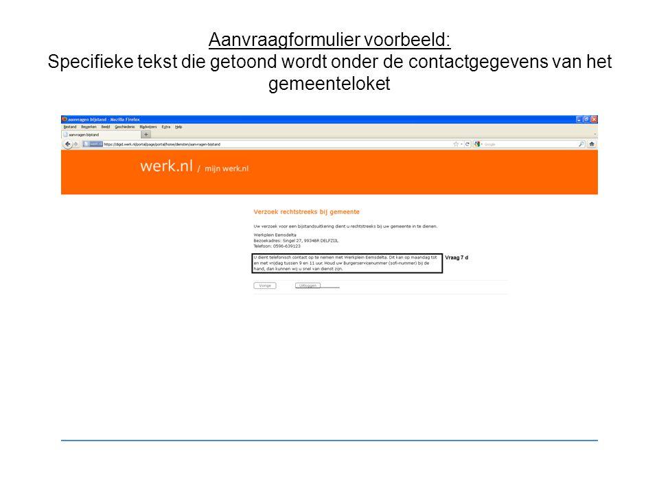 Aanvraagformulier voorbeeld: Specifieke tekst die getoond wordt onder de contactgegevens van het gemeenteloket