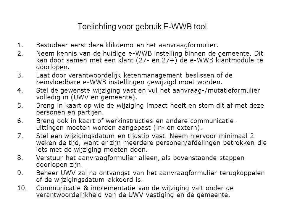 Toelichting voor gebruik E-WWB tool