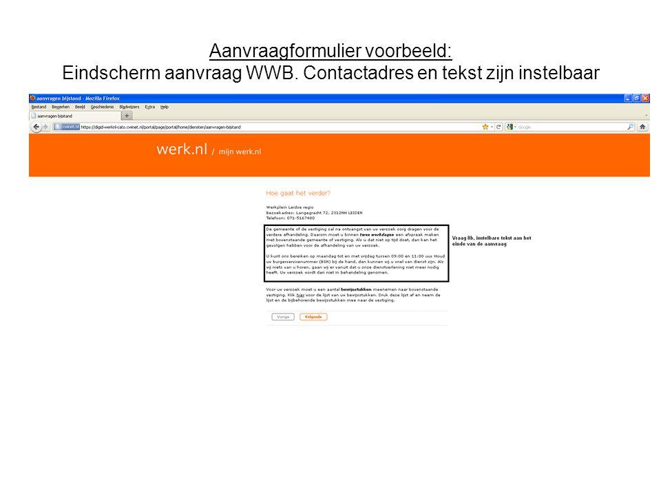 Aanvraagformulier voorbeeld: Eindscherm aanvraag WWB