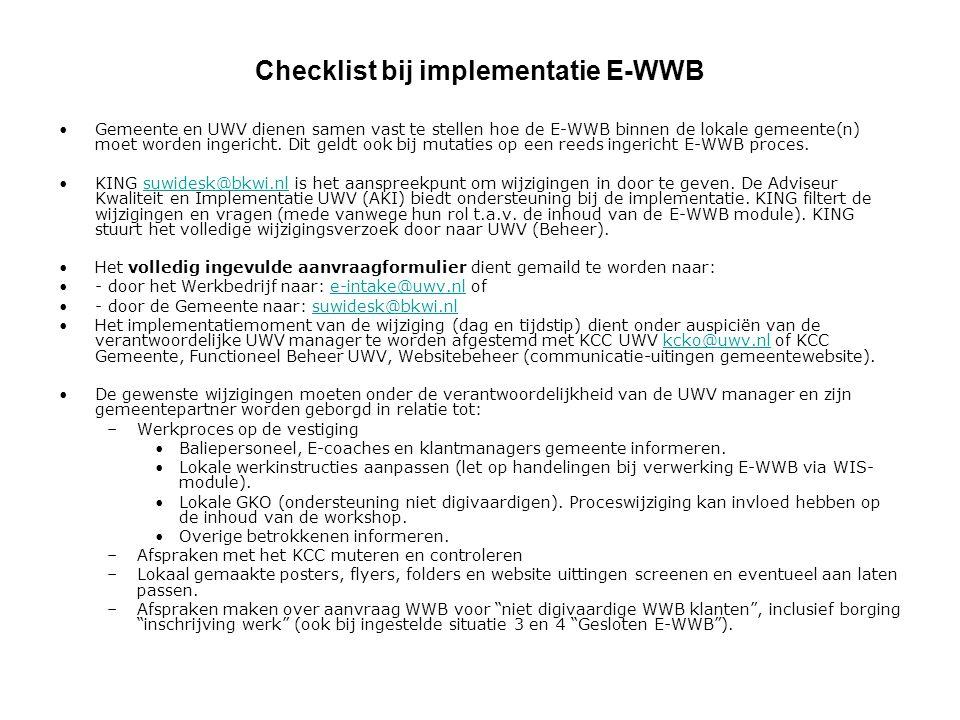 Checklist bij implementatie E-WWB