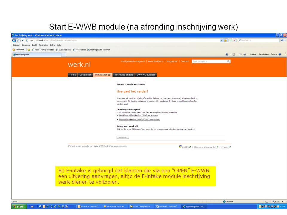 Start E-WWB module (na afronding inschrijving werk)
