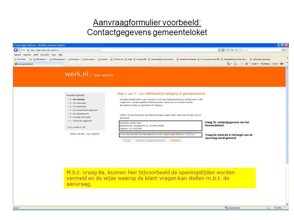 Aanvraagformulier voorbeeld: Contactgegevens gemeenteloket