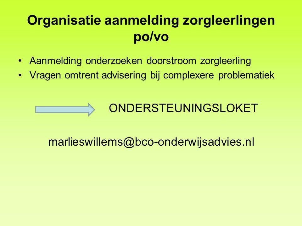 Organisatie aanmelding zorgleerlingen po/vo