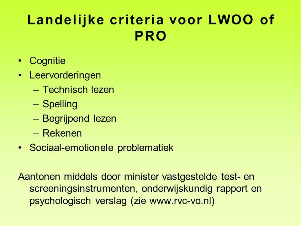 Landelijke criteria voor LWOO of PRO
