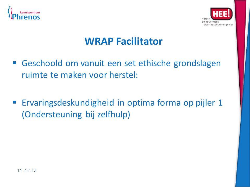 WRAP Facilitator Geschoold om vanuit een set ethische grondslagen ruimte te maken voor herstel: