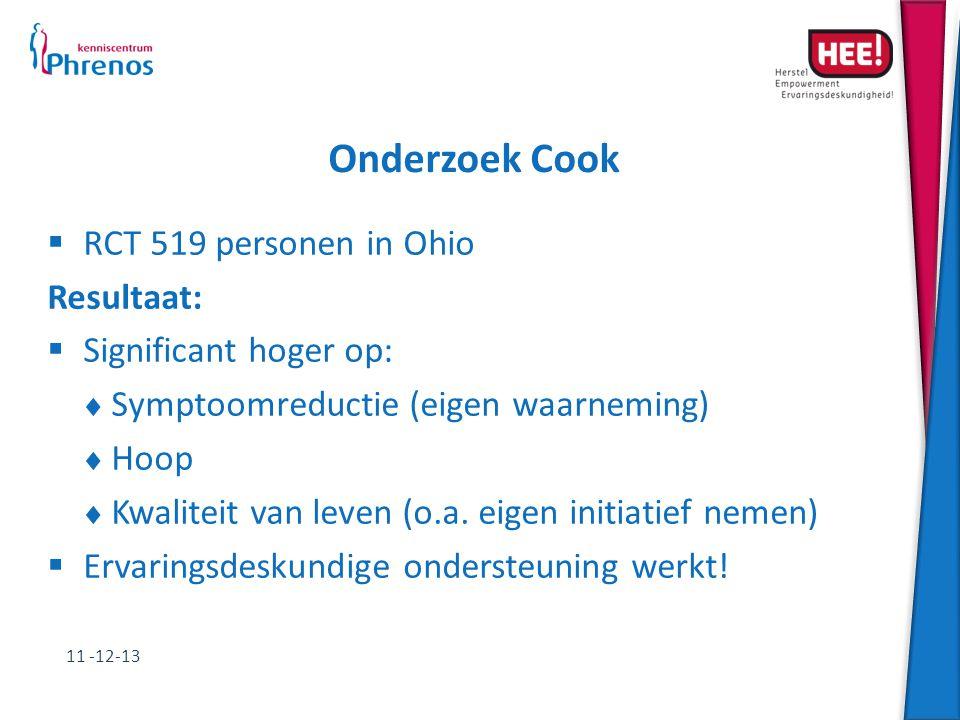 Onderzoek Cook RCT 519 personen in Ohio Resultaat: