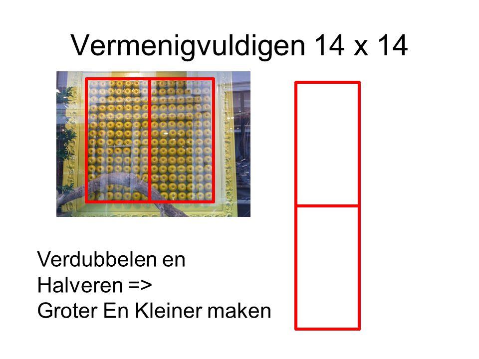 Vermenigvuldigen 14 x 14 Verdubbelen en Halveren =>