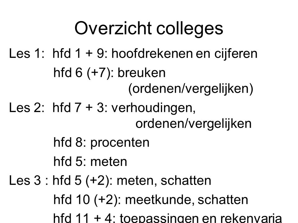 Overzicht colleges