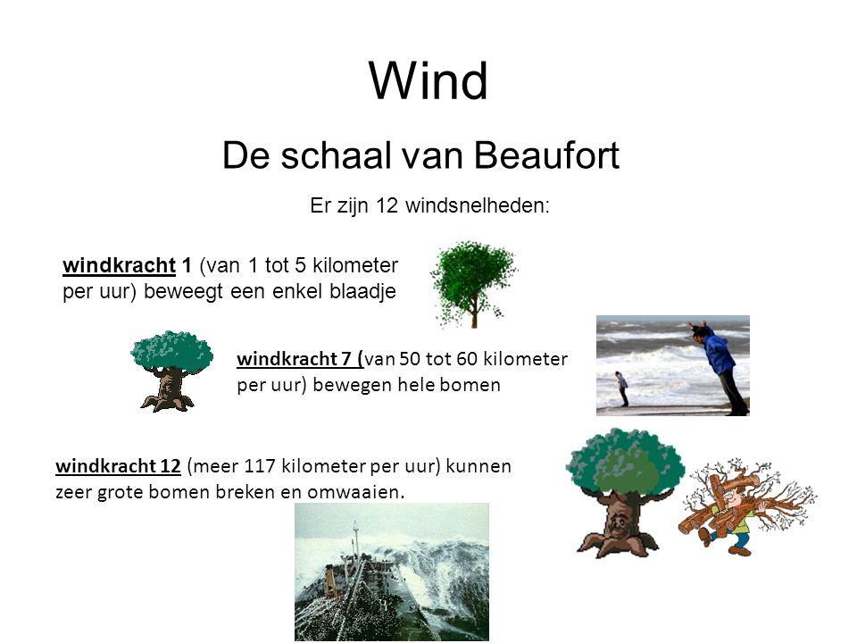 Wind De schaal van Beaufort Er zijn 12 windsnelheden: