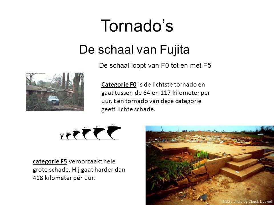 Tornado's De schaal van Fujita De schaal loopt van F0 tot en met F5