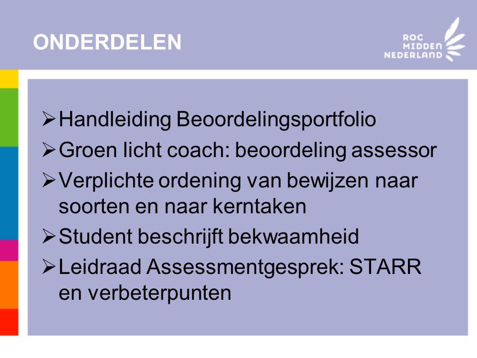 ONDERDELEN Handleiding Beoordelingsportfolio. Groen licht coach: beoordeling assessor.