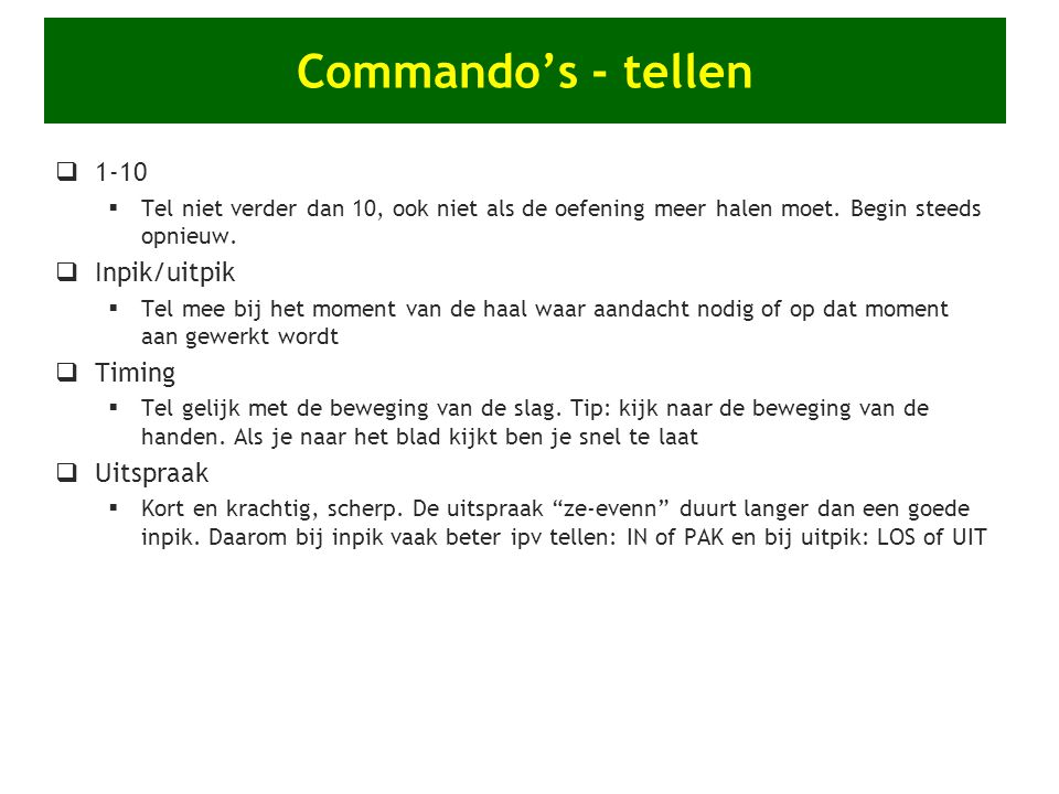 Commando's - tellen 1-10 Inpik/uitpik Timing Uitspraak