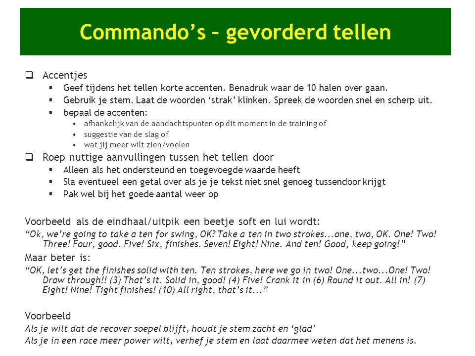 Commando's – gevorderd tellen