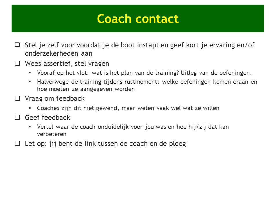 Coach contact Stel je zelf voor voordat je de boot instapt en geef kort je ervaring en/of onderzekerheden aan.