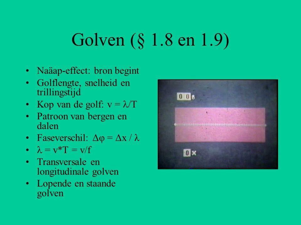 Golven (§ 1.8 en 1.9) Naäap-effect: bron begint