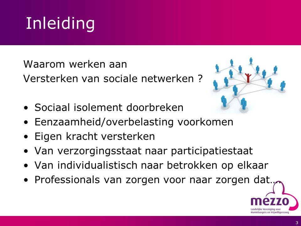 Inleiding Waarom werken aan Versterken van sociale netwerken