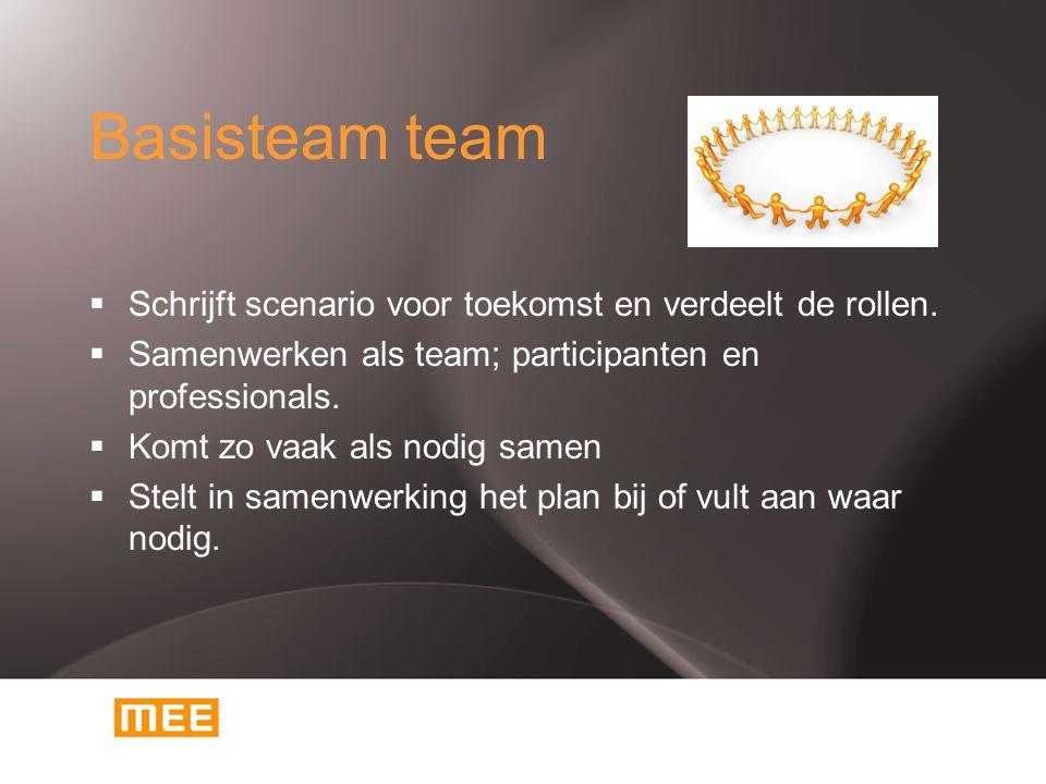 Basisteam team Schrijft scenario voor toekomst en verdeelt de rollen.