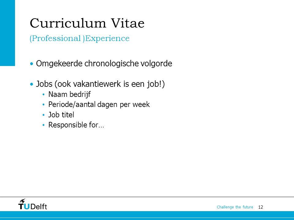 Curriculum Vitae (Professional )Experience