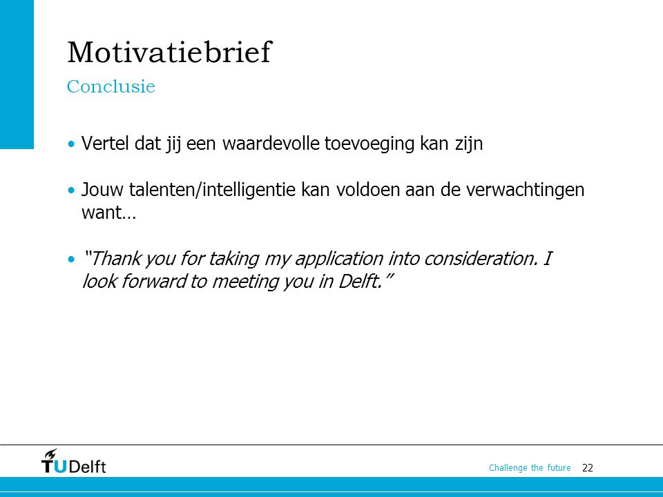 Motivatiebrief Conclusie