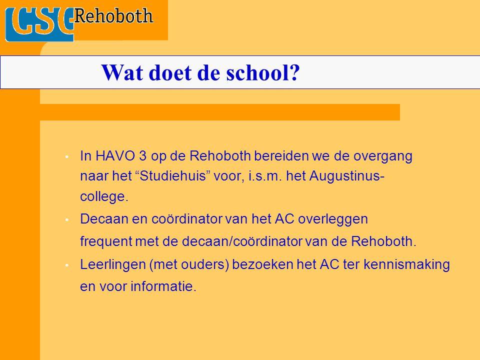 Wat doet de school In HAVO 3 op de Rehoboth bereiden we de overgang