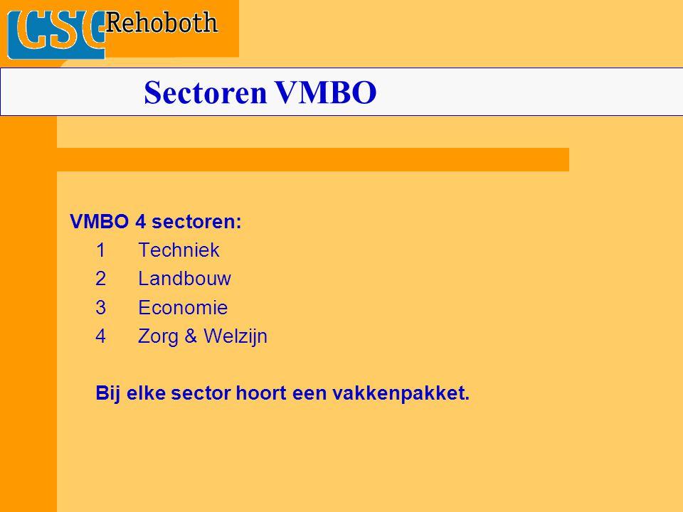 Sectoren VMBO VMBO 4 sectoren: 1 Techniek 2 Landbouw 3 Economie