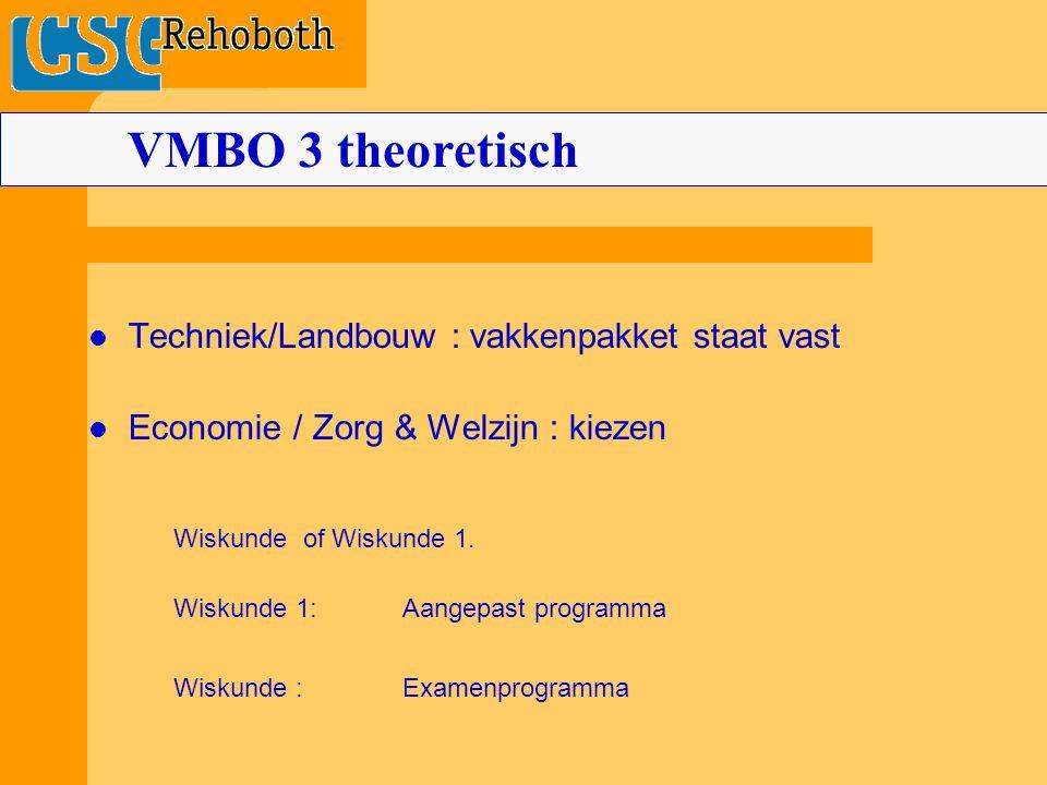 VMBO 3 theoretisch Techniek/Landbouw : vakkenpakket staat vast
